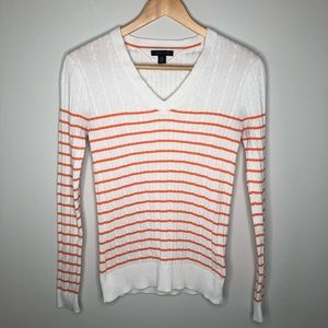 Tommy Hilfiger White & Orange Cable Knit Sweater
